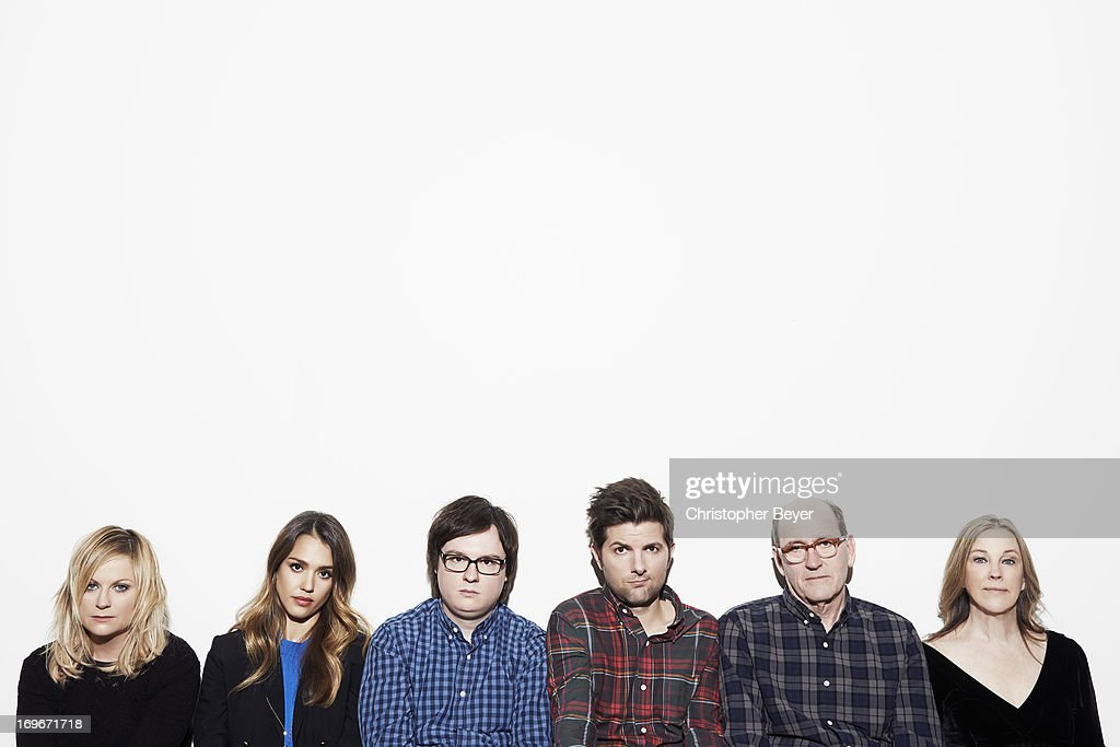 Actors Adam Scott, Amy Poehler, Jessica Alba, Richard Jenkins, Clarke Duke, and Catherine O'Hara are photographed for Entertainment Weekly Magazine on January 22, 2013 in Park City, Utah.