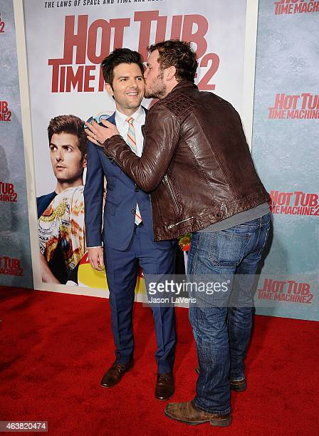 Actors Adam Scott and Chris Pratt attend the premiere of Hot Tub Time Machine 2 at Regency Village Theatre on February 18 2015 in Westwood California