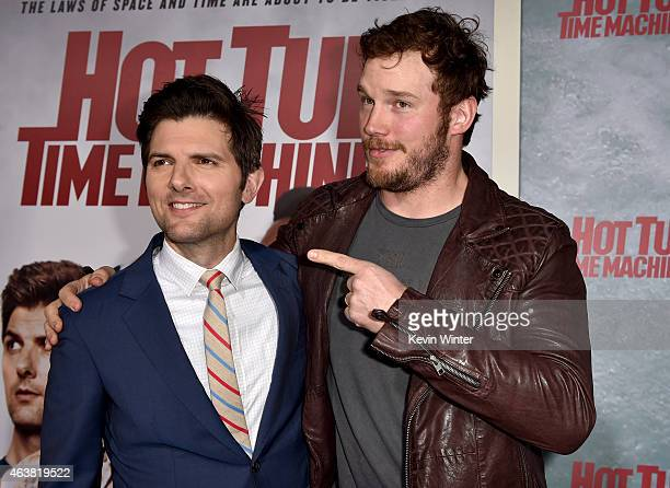 Actors Adam Scott and Chris Pratt attend the premiere of Paramount Pictures' Hot Tub Time Machine 2 at Regency Village Theatre on February 18 2015 in...