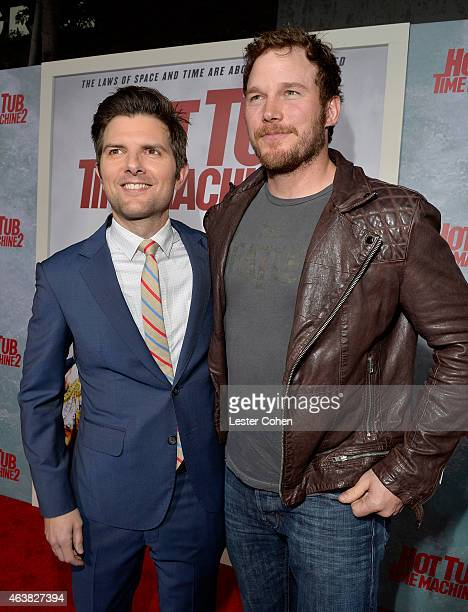 Actors Adam Scott and Chris Pratt attend the premiere of Paramount Pictures' 'Hot Tub Time Machine 2' at Regency Village Theatre on February 18 2015...