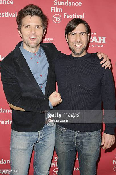 Actors Adam Scott and Jason Schwartzman arrive at 'The Overnight' premiere during the 2015 Sundance Film Festival on January 23 2015 in Park City Utah