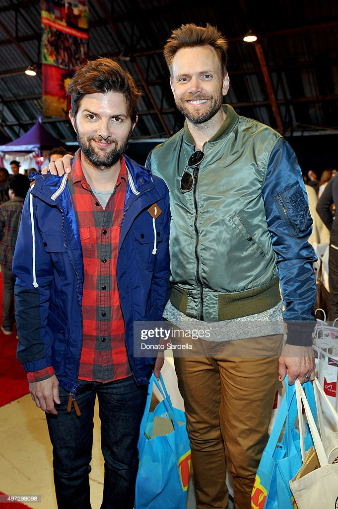 Actors Adam Scott (L) and Joel McHale attend Express Yourself 2015 to benefit P.S. ARTS, providing arts education to 25,000 public school students each week at Barker Hangar on November 15, 2015 in Santa Monica, California.