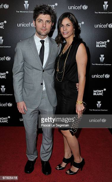 Actors Adam Scott and Naomi Sablan arrive at the Montblanc Charity Cocktail Hosted By The Weinstein Company To Benefit UNICEF held at Soho House on...