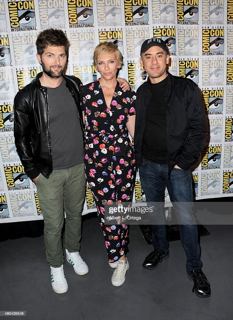 Actors Adam Scott and Toni Collette and director Michael Dougherty attend the Legendary Pictures panel during Comic-Con International 2015 the at the San Diego Convention Center on July 11, 2015 in San Diego, California.