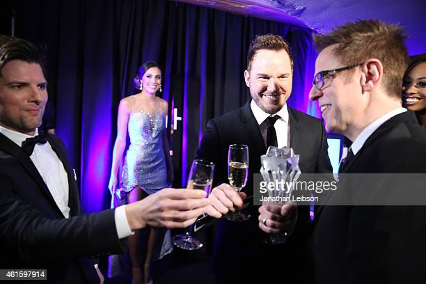 Actors Adam Scott Chris Pratt and director James Gunn attend the 20th annual Critics' Choice Movie Awards at the Hollywood Palladium on January 15...