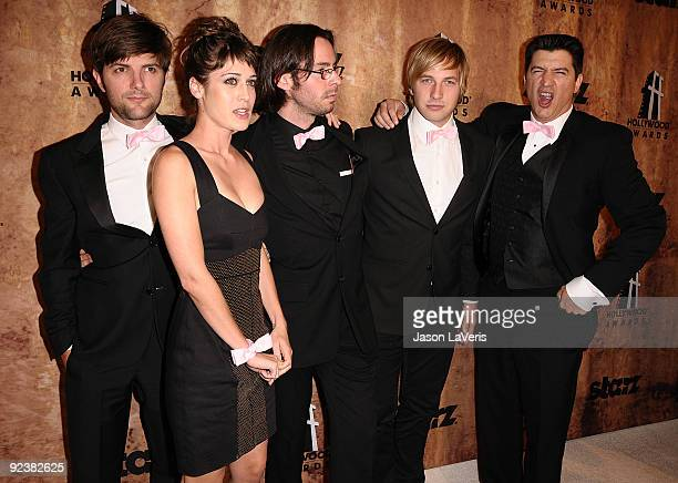 Actors Adam Scott Lizzy Caplan Martin Starr Ryan Hansen and Ken Marino attend the Hollywood Film Festival after party at The Beverly Hilton Hotel on...