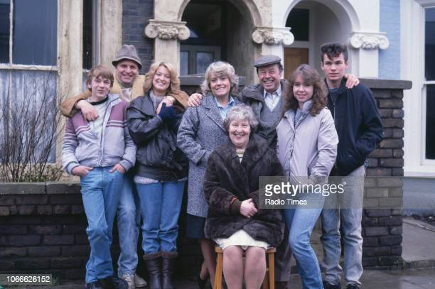 Actors Adam Woodyatt Peter Dean Gillian Taylforth Wendy Richard Anna Wing Bill Treacher Susan Tully and David Scarboro pictured on the exterior set...