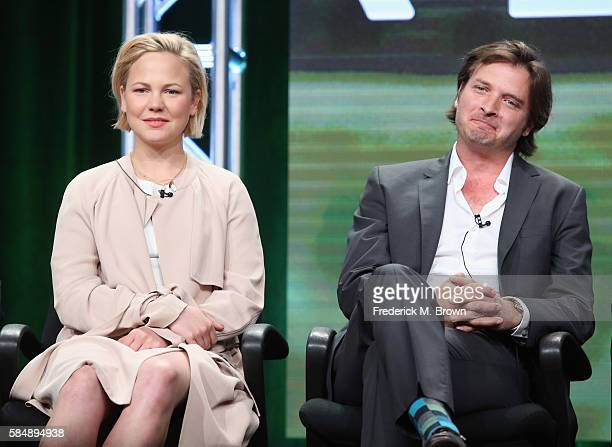 Actors Adelaide Clemens and Aden Young speak onstage during the 'SundanceTV/Rectify' panel discussion at the AMC Networks portion of the 2016...