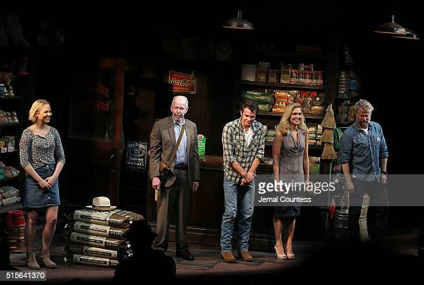 Actors Adelaide Clemens Jonathan Hogan Timothy Olyphant Jenn Lyon and CJ Wilson take a bow during opening night curtain call for 'Hold On To Me...