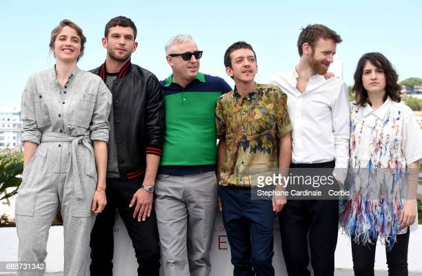 Actors Adele Haenel Arnaud Valois director Robin Campillo Nahuel Perez Biscayart Antoine Reinartz and Aloise Sauvage attend the 120 Beats Per Minute...