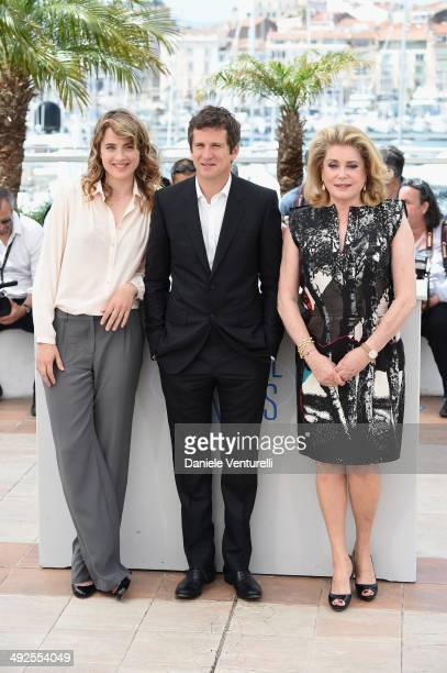 Actors Adele Haenel Guillaume Canet and Catherine Deneuve attend the In The Name Of My Daughter photocall at the 67th Annual Cannes Film Festival on...