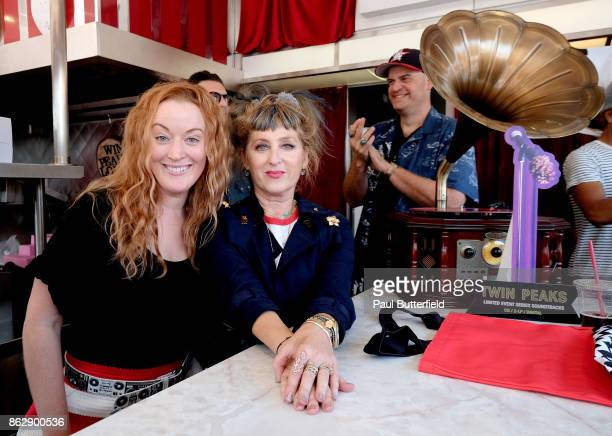 Actors Adele René and Kimmy Robertson pose behind the counter at Showtime's 'Twin Peaks' Double R Diner PopUp on Melrose Avenue on October 18 2017 in...