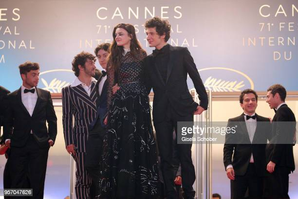 Actors Adele Wismes and Vincent Lacoste depart the screening of 'Sorry Angel ' during the 71st annual Cannes Film Festival at Palais des Festivals on...