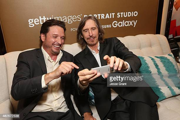 Actors Aden Young and Ray McKinnon of SundanceTV's 'Rectify' attend the Getty Images Portrait Studio powered by Samsung Galaxy at 2015 Summer TCA's...