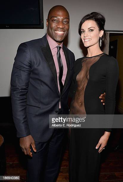 Actors Adewale AkinnuoyeAgbaje and Jaimie Alexander attend Marvel's Thor The Dark World Premiere after party at Cashmere Nightclub on November 4 2013...