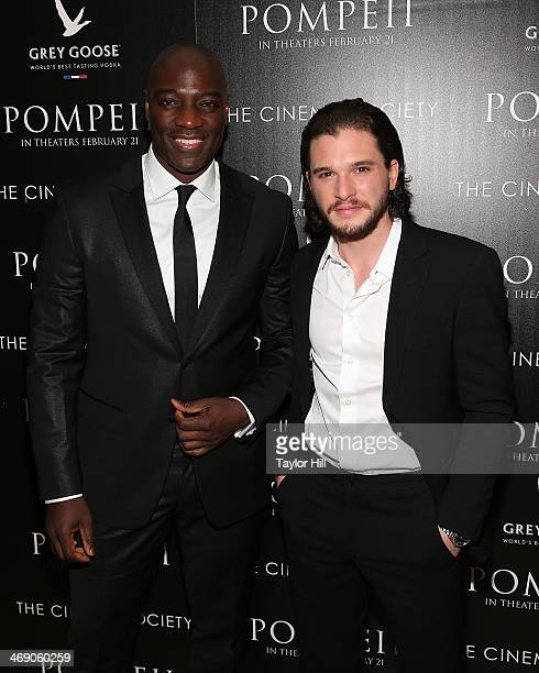 Actors Adewale AkinnuoyeAgbaje and Kit Harington attend the Pompeii screening hosted by TriStar Pictures with the Cinema Society and Grey Goose at...