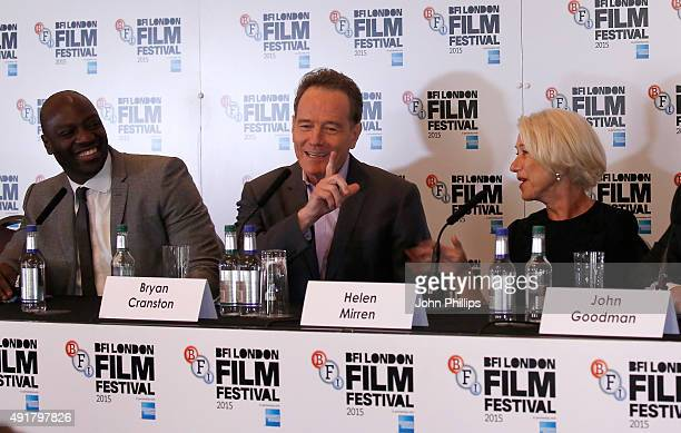 Actors Adewale AkinnuoyeAgbaje Bryan Cranston and Helen Mirren attend the Trumbo press conference during the BFI London Film Festival at Corinthia...