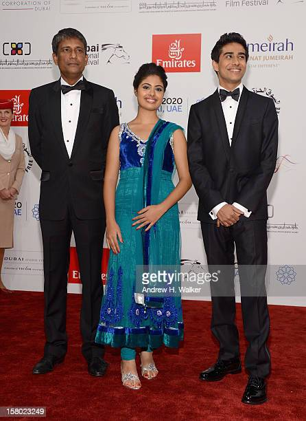 Actors Adil Hussain Shravanthi Sainath and Suraj Sharma attend the Life of PI Opening Gala during day one of the 9th Annual Dubai International Film...