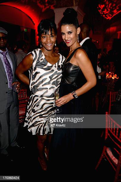 Actors Adina Porter and Jessica Clark attend the after party for HBO's 'True Blood' season 6 premiere at Boulevard3 on June 11 2013 in Hollywood...