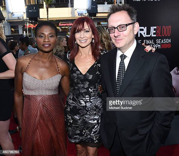 Actors Adina Porter Carrie Preston and Michael Emerson attend Premiere Of HBO's 'True Blood' Season 7 And Final Season at TCL Chinese Theatre on June...