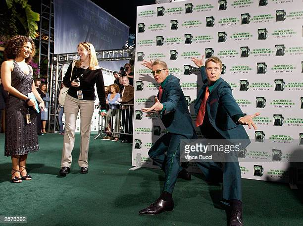 Actors Adrian and Neil Rayment attend a launch party for the worldwide DVD release of the film 'The Matrix Reloaded' on October 8 2003 at Morton's in...