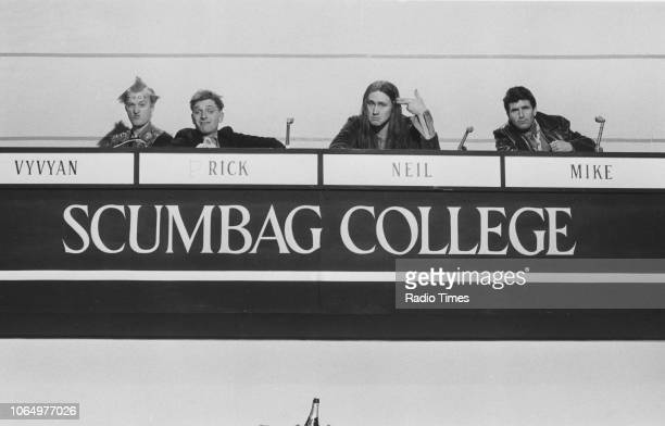 Actors Adrian Edmondson, Rik Mayall, Nigel Planner and Christopher Ryan in a 'University Challenge' scene from episode 'Bambi' of the television...