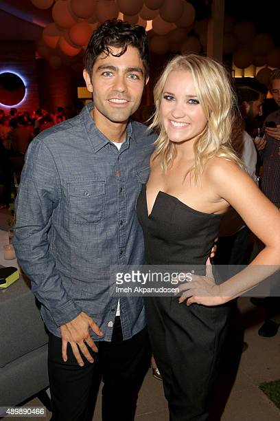Actors Adrian Grenier and Emily Osment attend the VIP sneak peek of the go90 Social Entertainment Platform at the Wallis Annenberg Center for the...