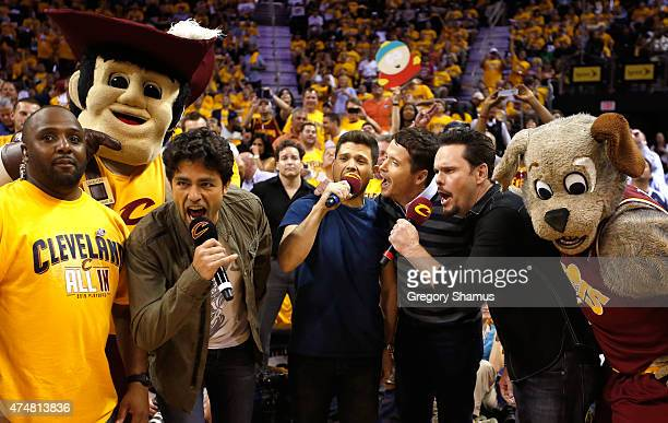 Actors Adrian Grenier, Jerry Ferrara, Kevin Connolly and Kevin Dillon attend Game Four of the Eastern Conference Finals of the 2015 NBA Playoffs...