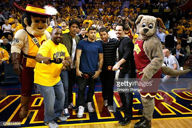 Actors Adrian Grenier Jerry Ferrara Kevin Connolly and Kevin Dillon attend Game Four of the Eastern Conference Finals of the 2015 NBA Playoffs...