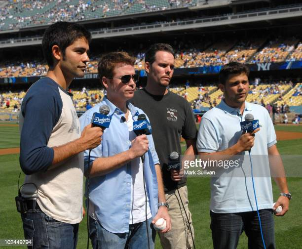 Actors Adrian Grenier, Kevin Connolly, Kevin Dillon and Jerry Ferrara tape a promo at Dodger Stadium on June 26, 2010 in Los Angeles, California.