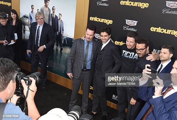Actors Adrian Grenier Kevin Dillon Jerry Ferrara and Jeremy Piven arrive at the Los Angeles premiere of 'Entourage' at Regency Village Theatre on...