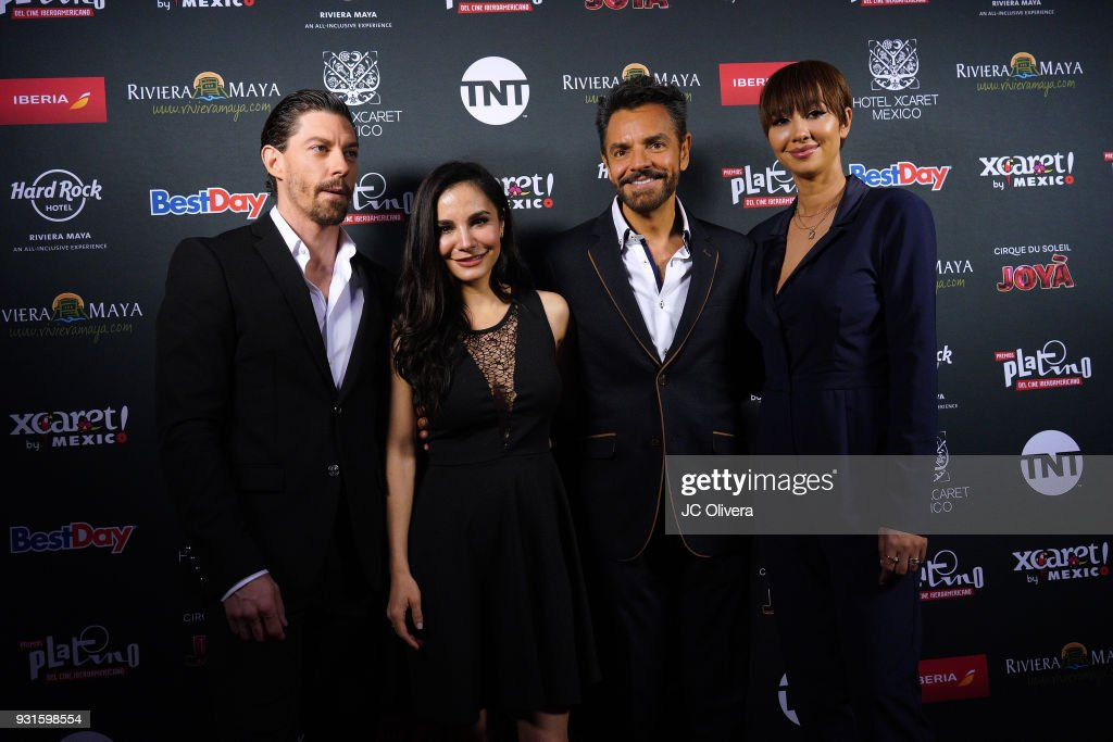 Actors Adrian Lastra, Martha Higareda, Eugenio Derbez and Jackie Cruz attend the 5th Annual Premios PLATINO Of Iberoamerican Cinema Nominations Announcement at Hollywood Roosevelt Hotel on March 13, 2018 in Hollywood, California.