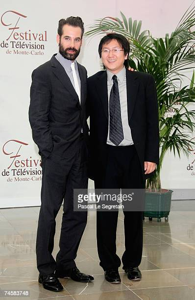 Actors Adrian Pasdar and Masi Oka attend a photocall promoting the television serie 'Heroes' on the third day of the 2007 Monte Carlo Television...