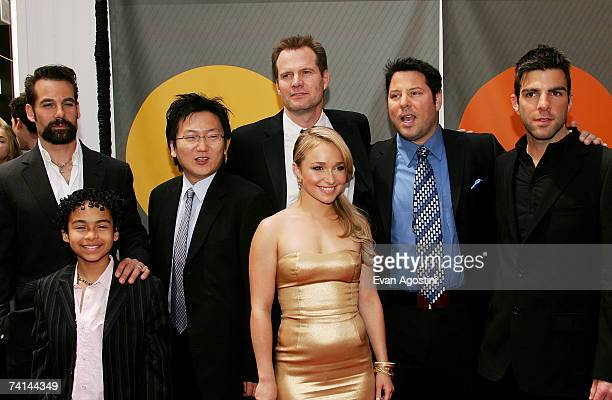 Actors Adrian Pasdar Noah GrayCabey Masi Oka Jack Coleman Hayden Panettiere Greg Grunberg and Zachary Quinto attend the NBC Upfronts at Radio City...