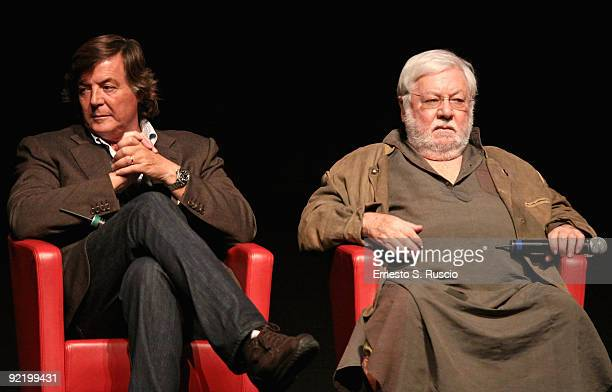 Actors Adriano Panatta and Paolo Villaggio attend the 'La Maglietta Rossa' Press Conference during Day 8 of the 4th International Rome Film Festival...