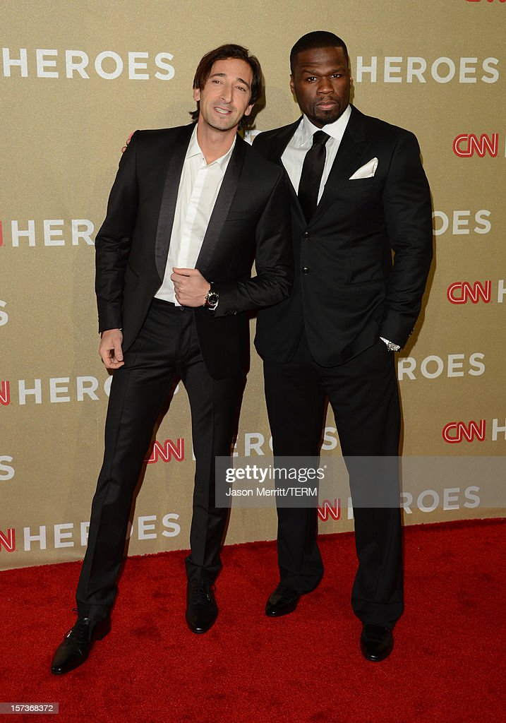 Actors Adrien Brody (L) and 50 Cent attend the CNN Heroes: An All Star Tribute at The Shrine Auditorium on December 2, 2012 in Los Angeles, California. 23046_004_JM_0777.JPG