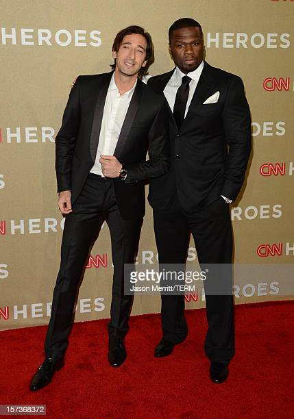 Actors Adrien Brody and 50 Cent attend the CNN Heroes: An All Star Tribute at The Shrine Auditorium on December 2, 2012 in Los Angeles, California....