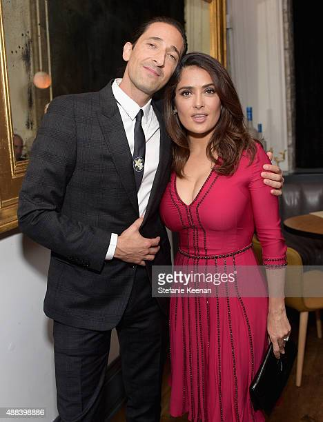 Actors Adrien Brody and Salma Hayek attend the Septembers of Shiraz TIFF Party Hosted By GREY GOOSE Vodka at Byblos on September 15 2015 in Toronto...