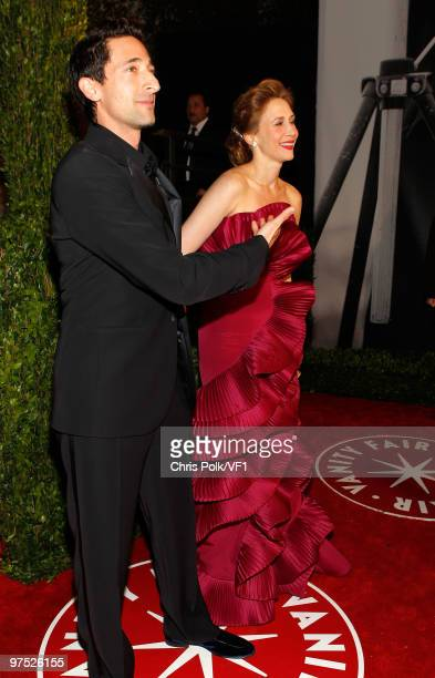 Actors Adrien Brody and Vera Farmiga attend the 2010 Vanity Fair Oscar Party hosted by Graydon Carter at the Sunset Tower Hotel on March 7, 2010 in...