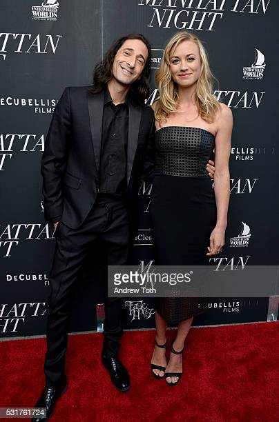 Actors Adrien Brody and Yvonne Strahovski attend the 'Manhattan Night' New York screening at Regal Cinemas Union Square on May 16 2016 in New York...