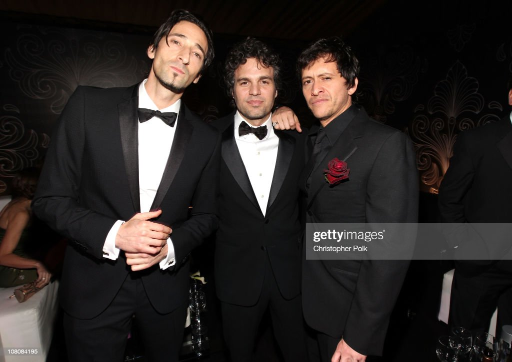 Actors Adrien Brody, Mark Ruffalo and Clifton Collins Jr. attend NBCUniversal/Focus Features Golden Globes Viewing and After Party sponsored by Chrysler held at The Beverly Hilton hotel on January 16, 2011 in Beverly Hills, California.