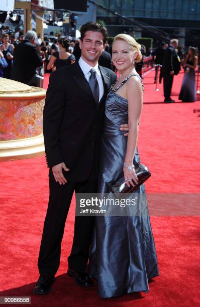 Actors Adrienne Frantz and Scott Bailey arrives at the 61st Primetime Emmy Awards held at the Nokia Theatre on September 20 2009 in Los Angeles...