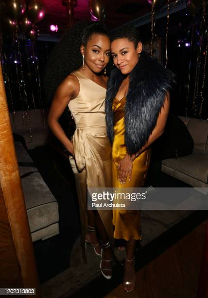 Actors Adrienne Warren and Ariana Debose attend the 1st Annual Musical Theater Album GRAMMY Party at Tramp Stamp Granny's on January 26 2020 in Los...