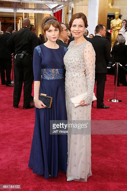 Actors Agata Trzebuchowska and Agata Kulesza attend the 87th Annual Academy Awards at Hollywood & Highland Center on February 22, 2015 in Hollywood,...