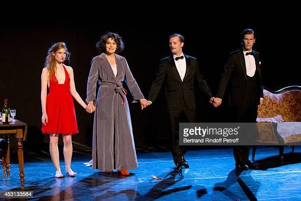 Actors Agathe Bonitzer Fanny Ardant Nicolas Duvauchelle and JeanBaptiste Jafarge during the final greeting of 'Des journees entieres dans les arbres'...