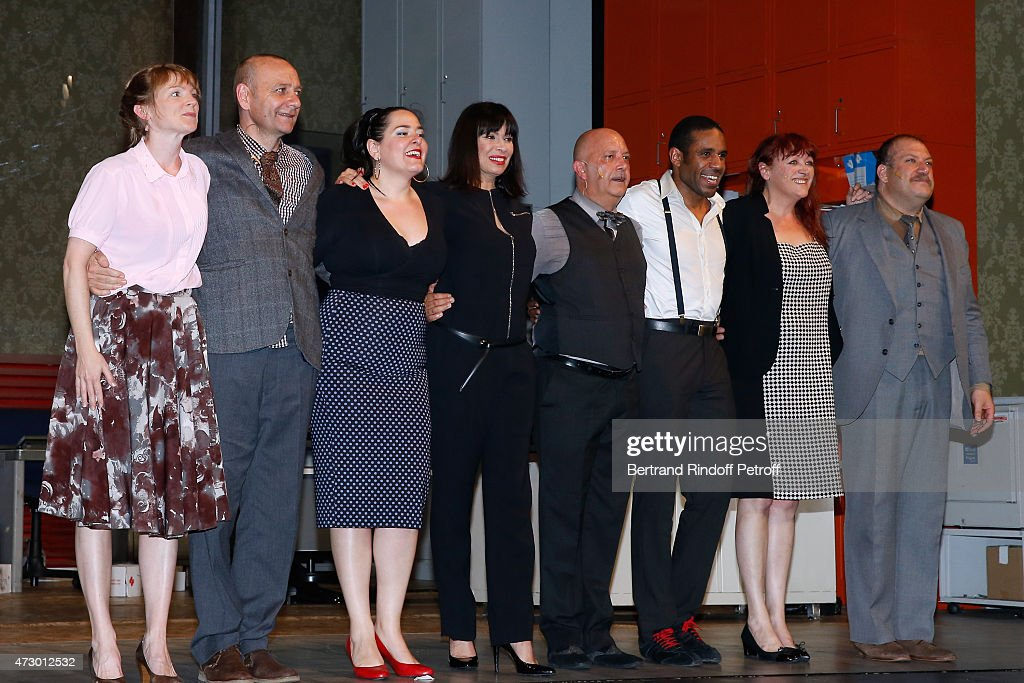 Actors Agathe Cemin, Emmanuel Jeantet, Stephanie Barreau, Stage Director Mathilda May, Actors Gil Galliot, Loup-Denis Elion, Dedeine Volk-Leonovitch and Gabriel Dermidjian acknowledge the applause of the audience at the end of the 'Open Space' : Theater Play at Theatre de Paris on May 11, 2015 in Paris, France.