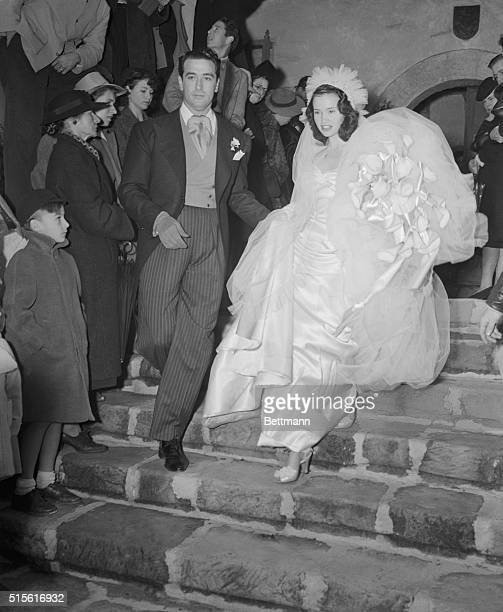 Actor's agent Pasquale Pat DiCicco and his 17yearold bride the former Gloria Vanderbilt step from the historic Santa Barbara Mission after their...