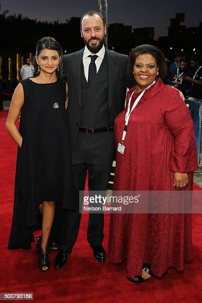 Actors Ahd Kamel Ali Suliman and guest attend the 'Zinzana ' premiere during day two of the 12th annual Dubai International Film Festival held at the...
