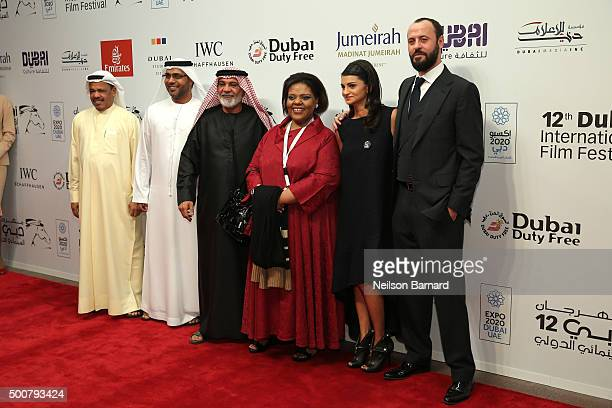 Actors Ahd Kamel Ali Suliman and guests attend the 'Zinzana ' premiere during day two of the 12th annual Dubai International Film Festival held at...