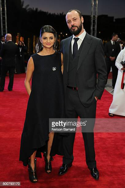 Actors Ahd Kamel and Ali Suliman attend the 'Zinzana ' premiere during day two of the 12th annual Dubai International Film Festival held at the...